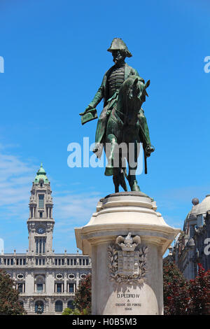 King D.Pedro IV monument on Liberdade square in Porto, Portugal - Stock Photo
