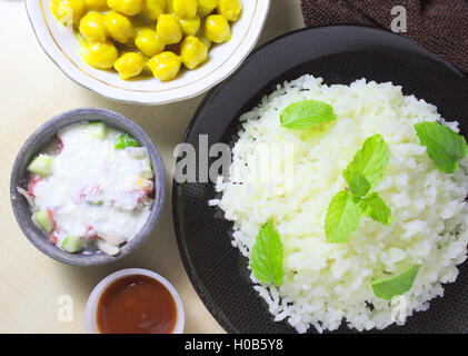 Rice and chickpeas curry - Stock Photo
