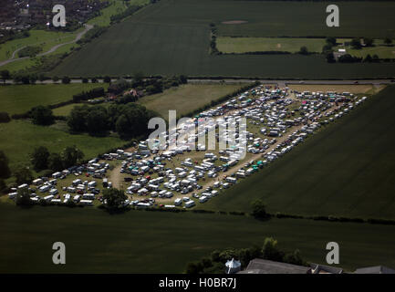 Aerial photo of travellers camp Seamer, Scarborough, North Yorkshire - Stock Photo