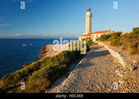 Lighthouse Stoncica on island Vis - Stock Photo