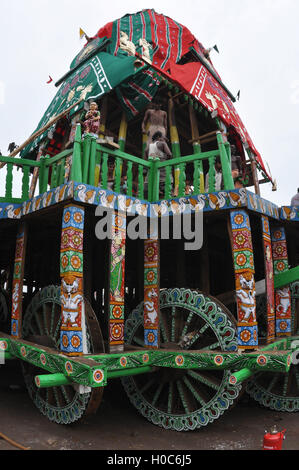 Puri, Odisha, India - July 2, 2011: Preparations for decorating Lord Jagannath's Rath for the Rath Yatra at Puri, - Stock Photo