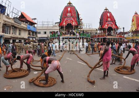 Puri, Odisha, India- July 2, 2011: Preparation for the Lord Jagannath Rath Yatra at Puri, Odisha, India.  The Jagannath - Stock Photo