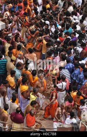 Puri, Odisha, India- July 3, 2011: Devotees singing and dancing on the occasion of Rath Yatra at Puri, Odisha, India. - Stock Photo