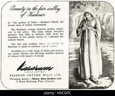 Advertisement advertising Kesoram Cotton Mills of Calcutta original old vintage advert from English language magazine - Stock Photo