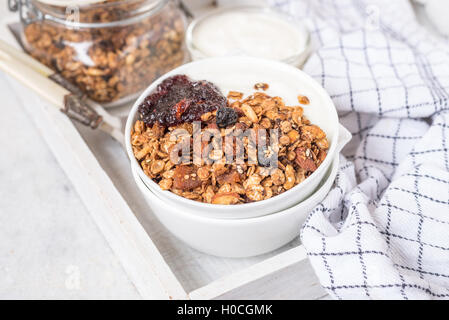 Peanut butter and chocolate chip whole wheat flakes granola recipe - Stock Photo