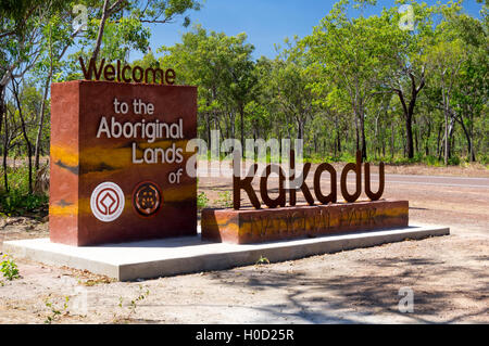 A road sign at the entrance to the Kakadu National Park, Northern Territory, Australia. - Stock Photo