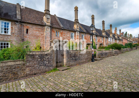 Cottages at Vicars Close at Wells in Somerset - Stock Photo