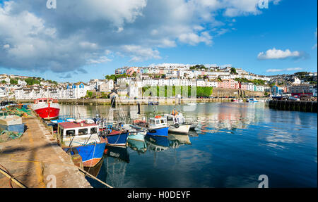 Fishing boats in the picturesque town of Brixham on the south coast of Devon - Stock Photo