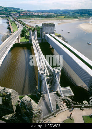 View from Conwy castle over the three bridges crossing the Conwy estuary. - Stock Photo