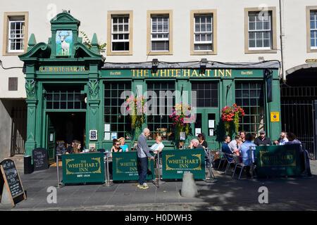 The White Hart Inn in the Grassmarket, Edinburgh, Scotland - Stock Photo