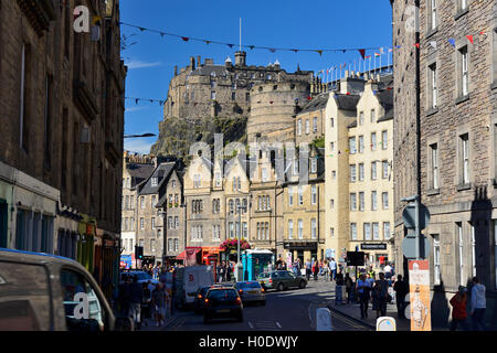 Edinburgh Castle from the bottom of Candlemaker Row in the Old Town of Edinburgh, Scotland - Stock Photo