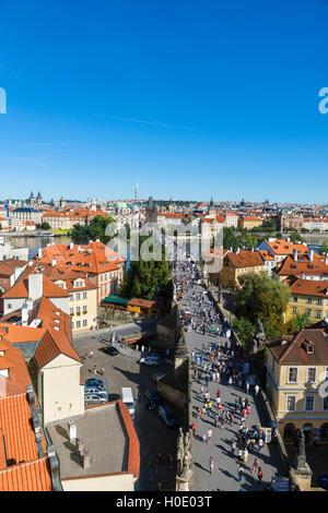 The Charles Bridge over the Vltava river looking towards the Old Town (Staré Město), Prague, Czech Republic - Stock Photo