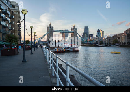 Tower Bridge and City of London from the Southbank of the River Thames, London, England, United Kingdom, Europe - Stock Photo