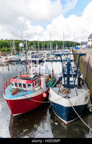 Scottish fishing boats moored in Stornoway Harbour on the Isle of Lewis in the Outer Hebrides. - Stock Photo