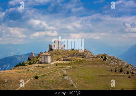 Panorama of Gran Sasso with Santa Maria della Pietà and Rocca Calascio, Gran Sasso, Abruzzo, Italy - Stock Photo