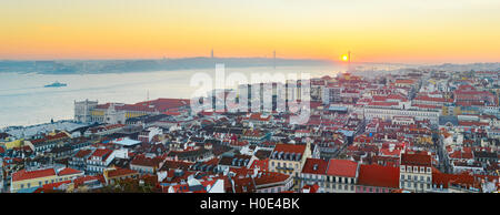 Lisbon panorama in the beautiful sunset. Portugal - Stock Photo