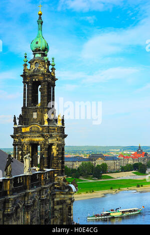 Church of the Holy Cross in Dresden, of the Evangelical Church in Germany, is the largest church in Saxony. - Stock Photo