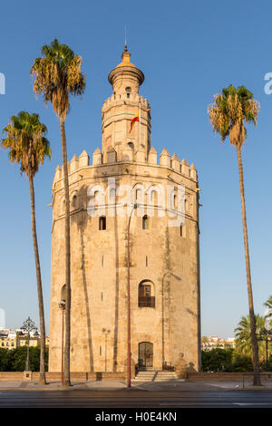 Torre del Oro (Tower of Gold), Seville, Andalusia, Spain - Stock Photo