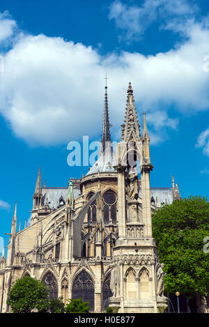 The backside of the famous Notre Dame cathedral in Paris - Stock Photo
