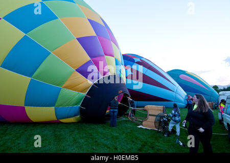 Inflating hot-air balloons at the 2016 'Spirit of Boise Balloon Classic' - Stock Photo