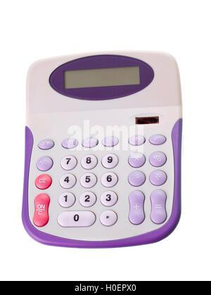 Purple calculator isolated on white background - Stock Photo
