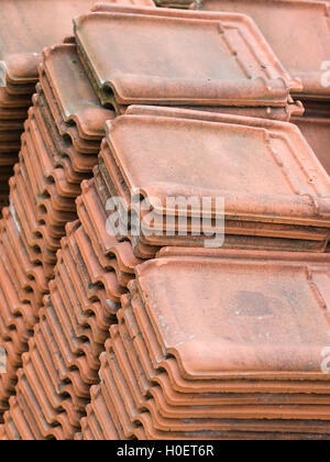 View of a stack of ceramic roof tiles - Stock Photo