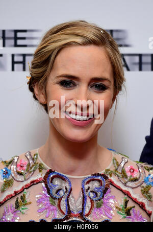 Emily Blunt attending the world premiere of The Girl On The Train at Leicester Square, London. - Stock Photo