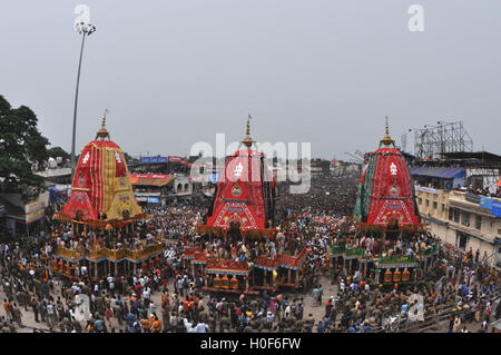 Puri, Odisha, India- July 3, 2011: The chariots of Lord Jagannath, Balbhadra and Subhadra traditionally decorated, - Stock Photo