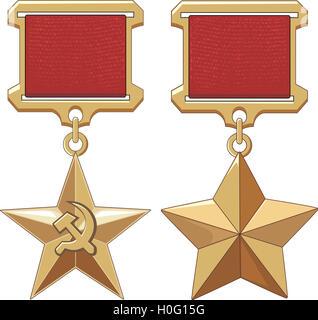 Soviet Hero Stars. Honor insignia. Vector illustrations. - Stock Photo