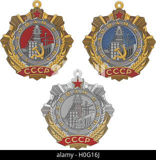 Soviet Order of Labour Glory. Set of three classes. Vector illustration. - Stock Photo