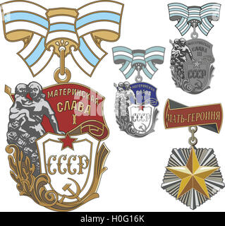 Soviet Order of Maternal Glory and the Order of Mother Heroine. Set of three classes. Vector illustration. - Stock Photo