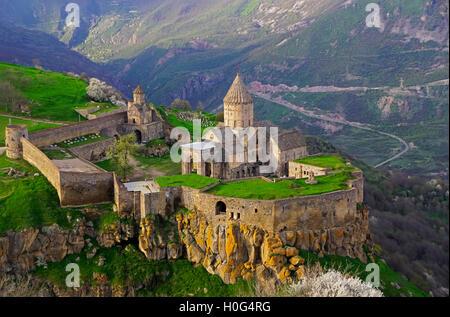 9th-century Tatev Monastery in Syunik Province, southeastern Armenia. - Stock Photo