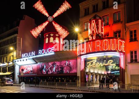Paris, France-October 11, 2015: The cabaret Moulin Rouge at night.Paris, France. - Stock Photo