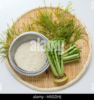 Rice with white radish leaves and herbs on bamboo tray - Stock Photo
