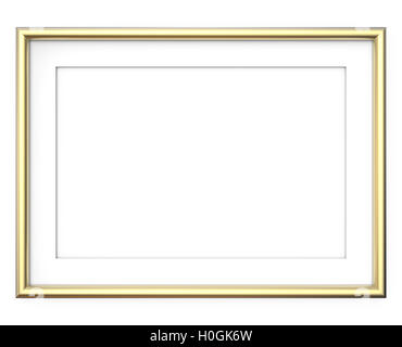 3D render of Golden Frame with white Passe-partout. Rounded profile. Blank for Copy Space. - Stock Photo