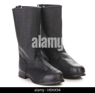 High rubber boot black color. - Stock Photo