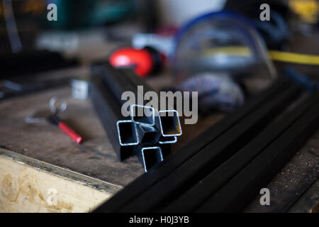 A welders workstation before welding this steel structure. - Stock Photo