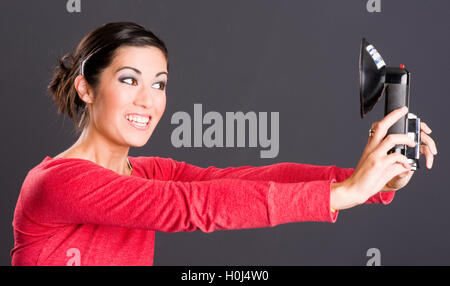 Self Portrait Attractive Excited Woman Takes Selfie Picture Portrait - Stock Photo