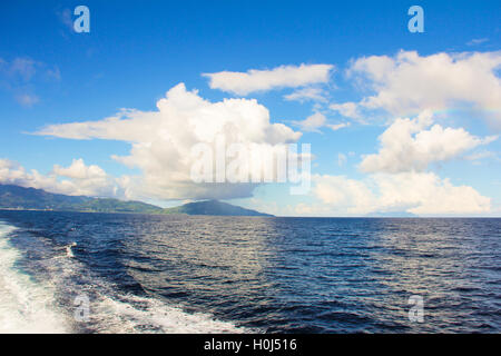 Stunning views of the mountain landscape in Mahe, Seychelles - Stock Photo