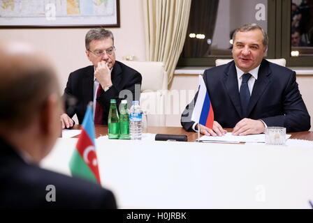 Baku, Azerbaijan. 20th Sep, 2016. Russia's minister of emergency situations Vladimir Puchkov (R back) and Azerbaijan's - Stock Photo