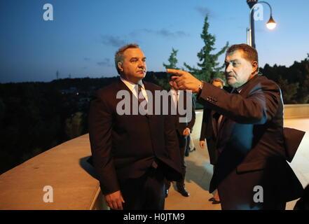 Baku, Azerbaijan. 20th Sep, 2016. Russia's Emergency Situations Minister Vladimir Puchkov (L) and Azerbaijan's Deputy - Stock Photo
