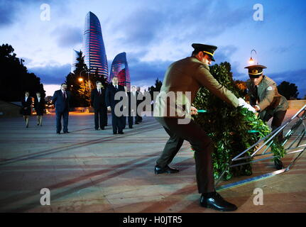 Baku, Azerbaijan. 20th Sep, 2016. Russia's Emergency Situations Minister Vladimir Puchkov (C back) pictured during - Stock Photo