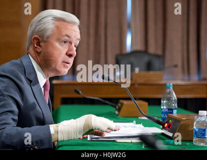 Washington, Us. 20th Sep, 2016. John G. Stumpf, Chairman and CEO, Wells Fargo & Company, testifies before the United - Stock Photo