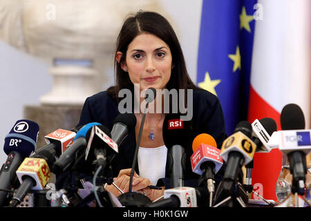 Roma, Italia. 21st Sep, 2016. Press conference of the Mayor Virginia Raggi. She announced her 'no' to the candidacy - Stock Photo