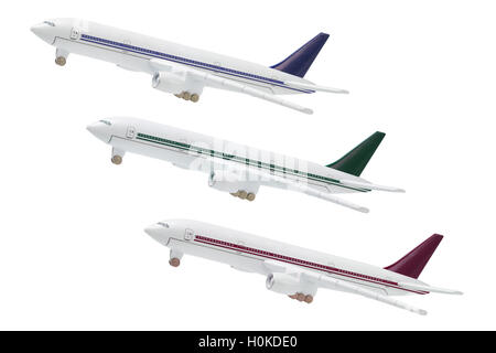Miniatue Model Of Commercial Jetliners on white Backgroud - Stock Photo