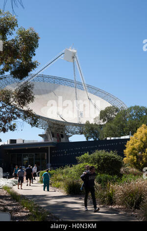 CSIRO's Parkes radio telescope is a 64-m diameter parabolic dish used for radio astronomy  NSW Australia - Stock Photo