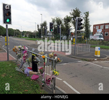 Accident at a Pelican Road Crossing, Howley, Warrington, Cheshire, England UK - Stock Photo
