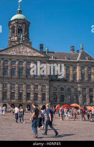 Popular tourist attractions of Royal Palace and Dam Square, City Centre district, Amsterdam, Netherlands. - Stock Photo