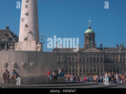 Popular tourist attractions of Royal Palace and National Monument, Dam Square, City Centre district, Amsterdam, - Stock Photo