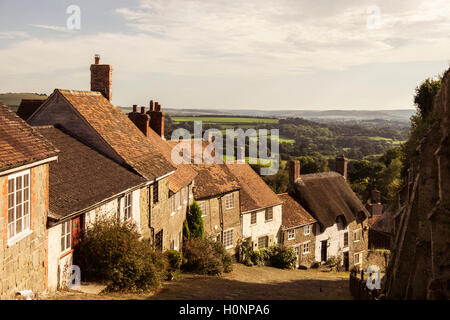 Gold Hill Shaftsbury site of Hovis Ad - Stock Photo
